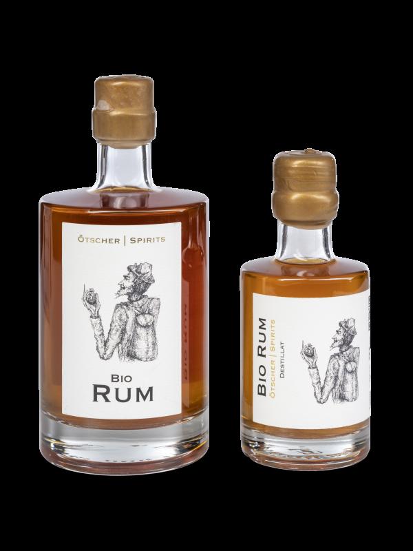 bio rum 0,5 und 0,2 l ötscher spirits flasche produktfoto