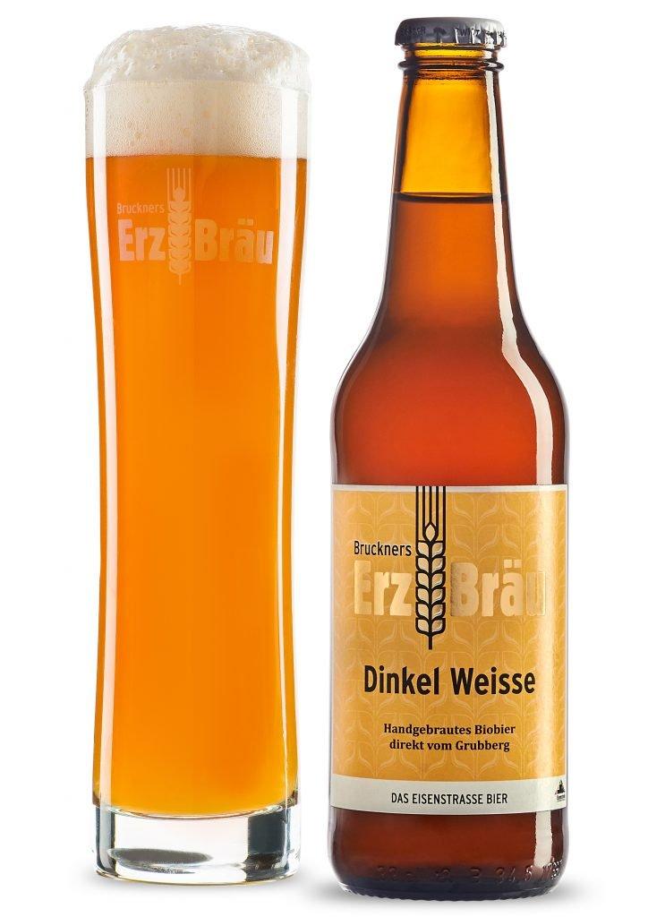 Bio Dinkel Weisse 0,33l Flasche und Erzbräu Bierglas