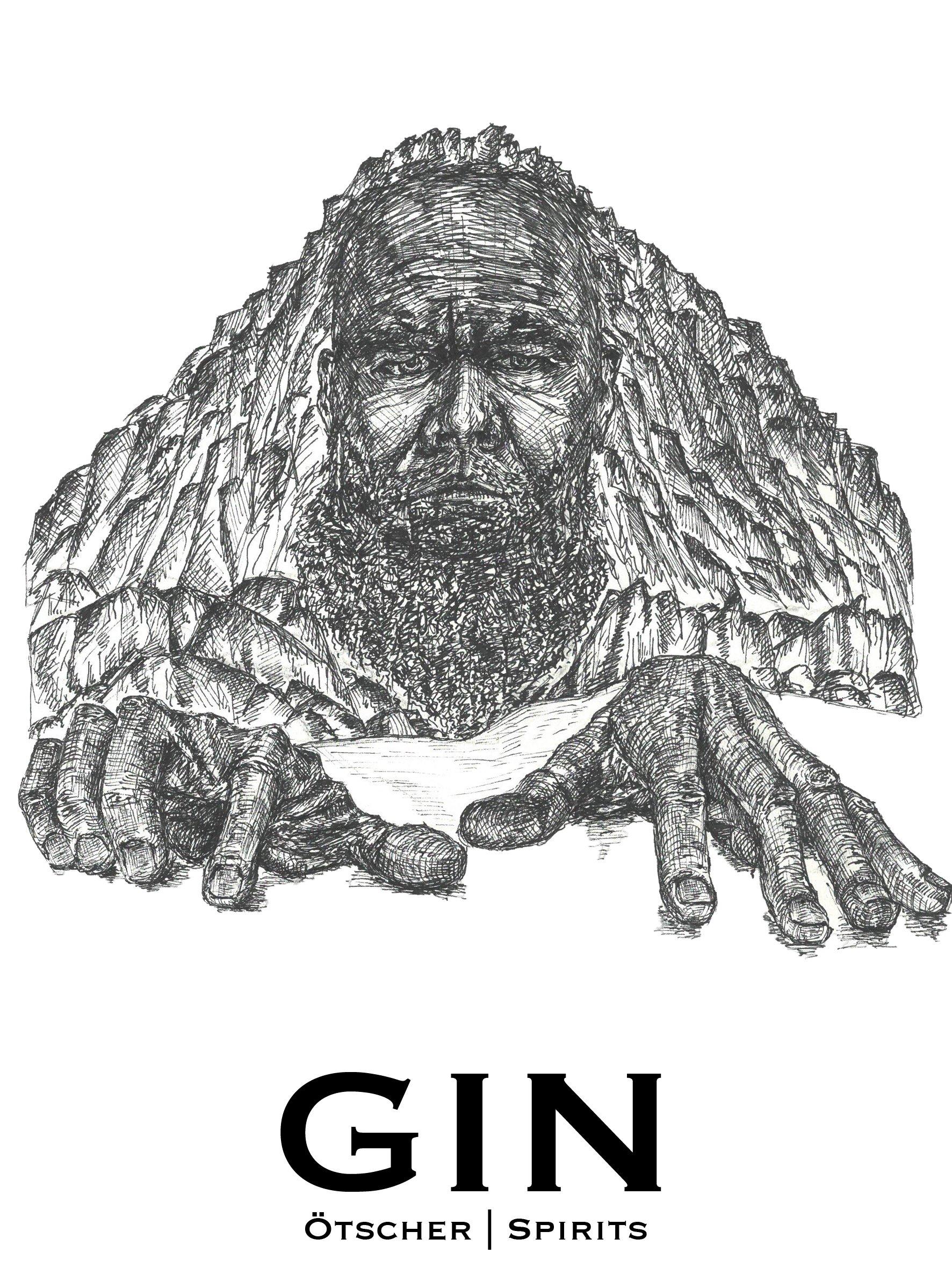 ötscher spirits gin label entwurf das steinerne Mandl