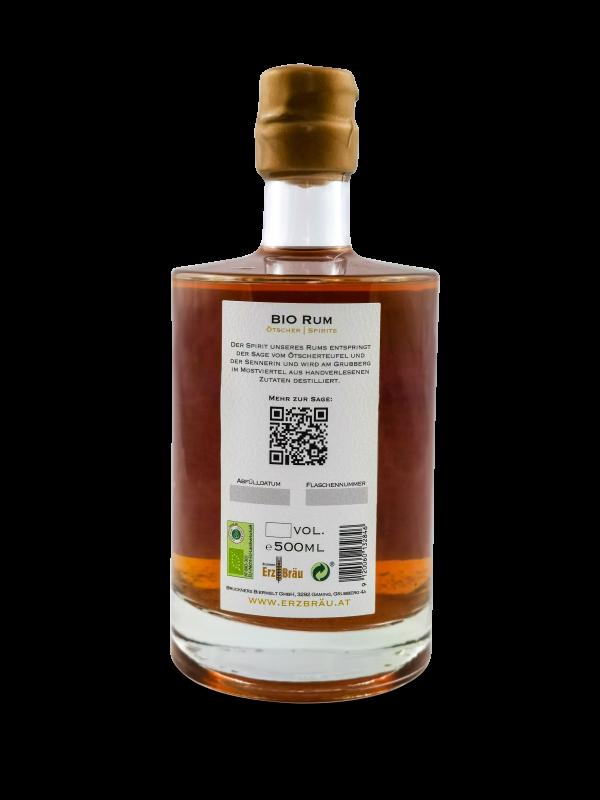 Bio Rum 0,5 l Produktfoto Ötscher Spirits hinten