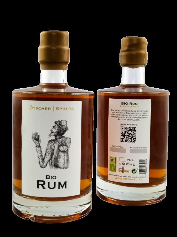 Bio Rum 0,5 l Produktfoto Ötscher Spirits vorne hinten