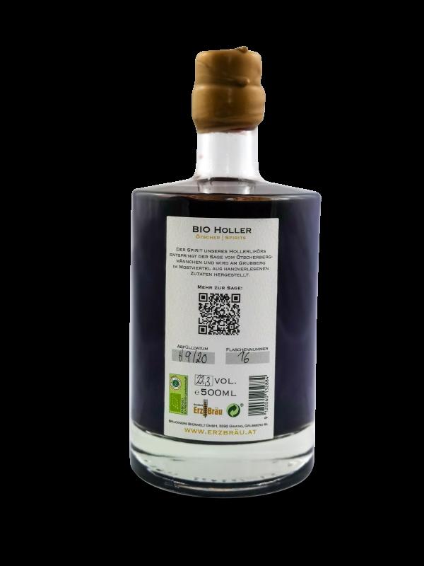 ötscher spirits 0,5l flasche bio holler hinten