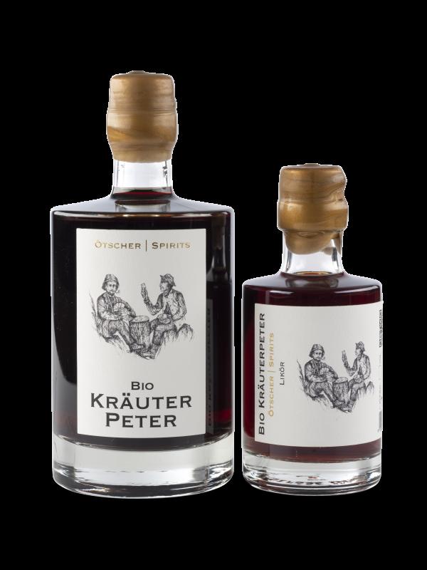 kräuter peter 0,5 und 0,2 l ötscher spirit flasche