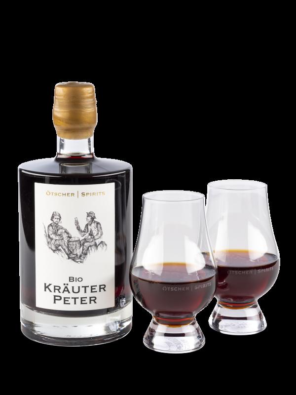 kräuter peter mit ötscher spirits glas produktfoto