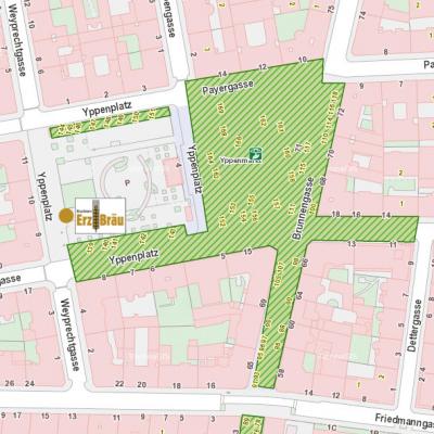 Erzbräu Marktstand Brunnenmarkt Map mit Icon